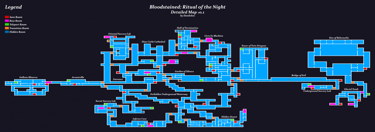 Bloodstained: Ritual of the Night - Complete World Map