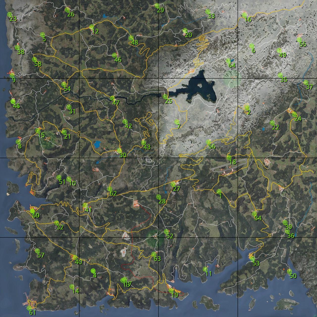 SCUM: Vehicle Respawn Points Map