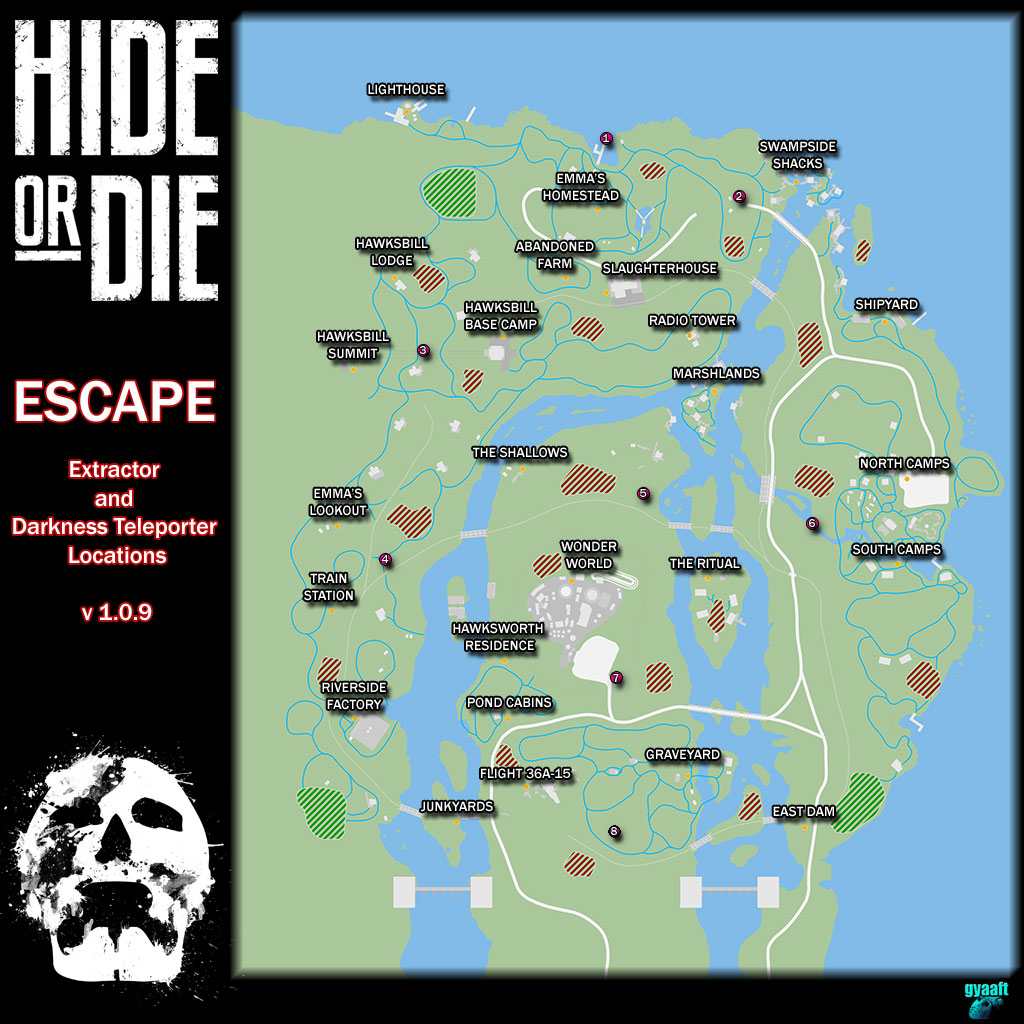 Hide or Die: Escape Map for Extractors & Teleporters