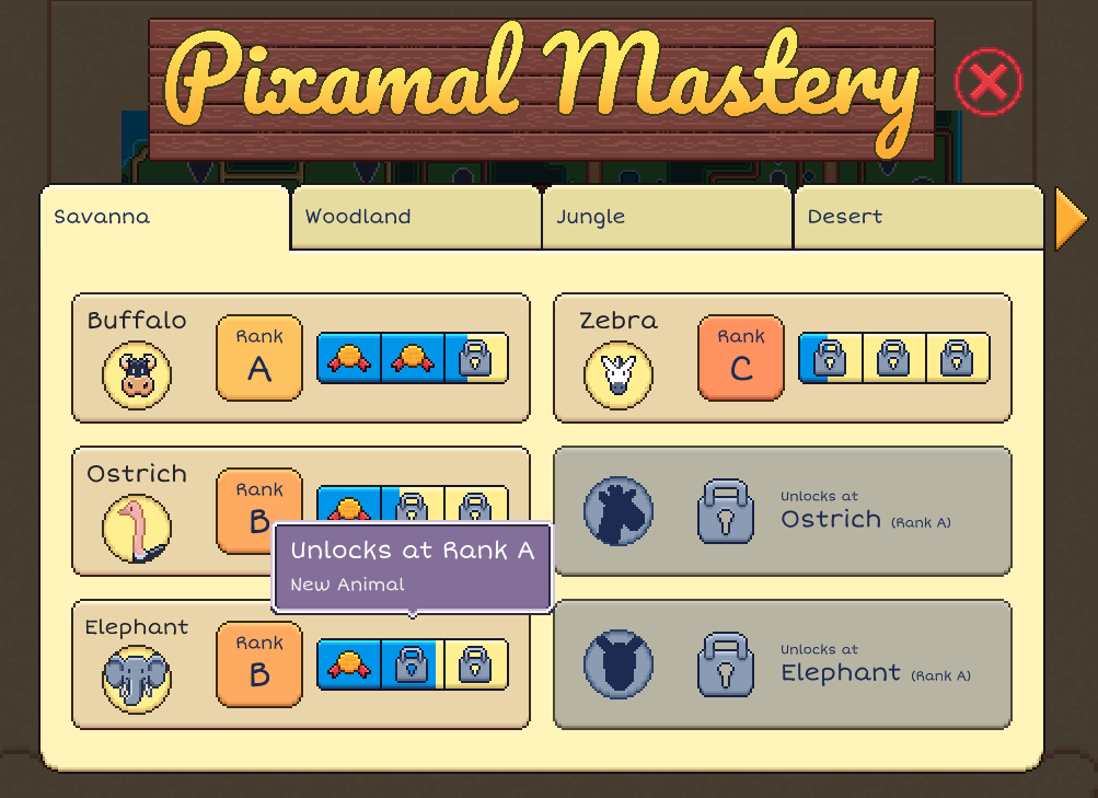 Pixamal Zoo Guide: Pixamal care, Money and Mastery Achievements